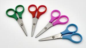 4 Stück Kinderschere Bastelschere / Scheren - Länge 10 cm in praktischer Tasche