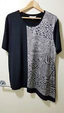 ~NEW~ NONIB Size XL (16) Metallic Stretch Tunic Top BLACK/SILVER NONI B