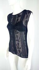 Luxury woman top mesh black rhinestones Made in Italy size 6 US RRP $ 300 VIDEO