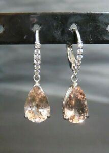 6.25 Carat Natural Morganite 14K Solid White Gold Diamond Drop Earrings