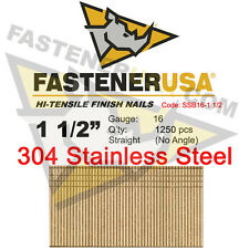 "1 1/2"" 16 Gauge 304 Stainless Steel Straight Finish Nails 16 ga (1250 ct)"