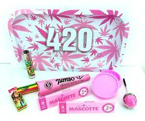 420 Pink Leaf Rolling Tray Gift Set Kingsize Pre Rolled Cones Grinder Lighter