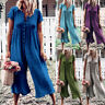 Solid Casual Boho Women Jumpsuit Playsuit Button Plain Linen Wide Leg Trousers