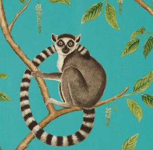 Sanderson Ringtailed Lemur Paste the Wall Wallpaper in Teal 216663