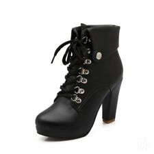 New Women Lace Up Ankle Boots Round Toe High Heels Platform Shoes Military Punk