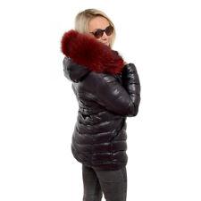 Damen kurze schwarze Winterjacke mit Kapuze aus Waschbär Steppjacke Raccoon Fell
