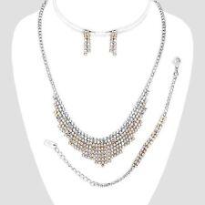 b99249ec6 AB rainbow diamante necklace bracelet earring set sparkly prom party bridal  525a