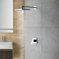 NEW Modern Square Chrome finish Rainfall Shower Faucet Wall Mount Single Handle