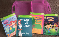 LeapFrog Tag Hardback Books Lot Of 4 And Carrying Case. Dr. Seuss, Disney etc