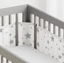 BreathableBaby Mesh Crib Liner Stars Gray Unisex Breathable Safe