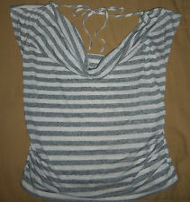 NO BOUNDRIES BLOUSE SHIRT JUNIOR GIRLS GRAY & WHITE DROP NECK Sz. Lg(11/13)!