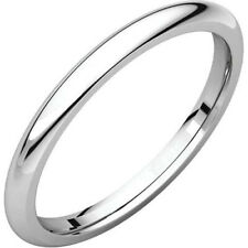 2mm Solid Platinum 950 Plain Dome Half Round Comfort Fit Wedding Band Size 7