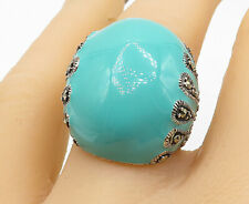 925 Silver - Enamel Coated Marcasite Accented Dome Cocktail Ring Sz 8 - R10429