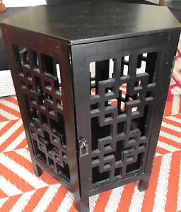 Vintage Asian Style Side End Table Plant Stand Storage Chinoiserie Chic MCM