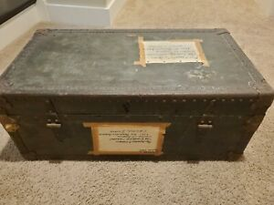 Vintage Antique coffee end table luggage Trunk Chest Furniture WW II Collectable