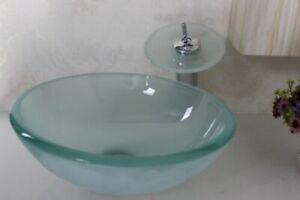 FROSTED Bathroom GLASS Wash Basin Bowl Sink bowl vessel ( SINK ONLY)