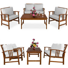 Conjunto de jardín ATLAS de madera de acacia cojínes 1 mesa 2 sillas 1 sillón