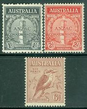 AUSTRALIA : 1932-35. Stanley Gibbons #146, 154-55. Very Fine, Mint Never Hinged.