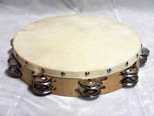 "AP HAND MADE 10"" SOLID WOOD FRAME TAMBOURINE w/SKIN HEAD & 16 PAIR OF JINGLES"