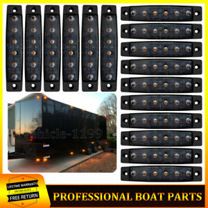 "16X 3.8""Amber Led Smoked Side Marker Lights 12V Clearance Truck Trailer Lights"