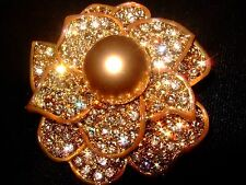 Gorgeous Pave Golden Flower Brooch