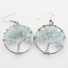 Natural Aquamarine Chip Beads Tree of Life Reiki Chakra Silver Hook Earrings
