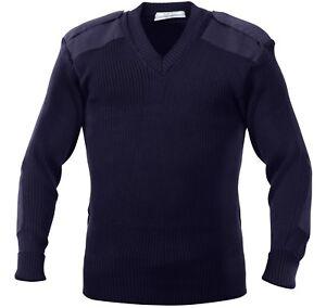 V Neck Acrylic Uniform Sweater Military Commando Army Epaulets Thick Warm Winter