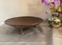 Stunning Antique Footed Copper Bowl-Lovely Aged Patina and Decorative Brass Feet