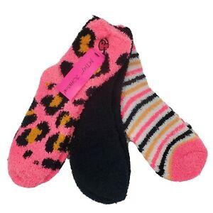 3 Pair Betsey Johnson Fuzzy Lounge Slipper Socks, Womens Shoe 5-10, Pink, L20 MP