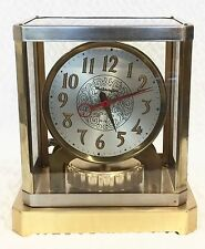 Vtg MasterCrafters Clock Art Deco Mid Century Glass Brass Chrome Atmos Style