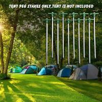 10pcs Galvanized Non-Rust 10'' Nail Head Stake Pegs Tent Stakes Set Bonus Ropes