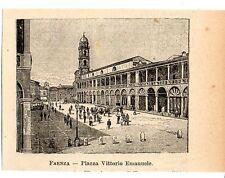 Stampa antica FAENZA piccola veduta della piazza Ravenna 1905 Old print