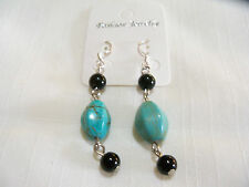 CLASSIC &  ATTRACTIVE TURQUOISE DANGLE HOOK PIERCED EARRINGS & GIFT BOX.... NICE