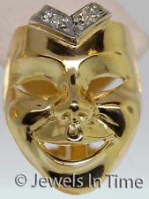 Ladies Diamond Mask Earrings in 18k Yellow Gold