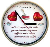 Wanduhr EHEVERTRAG Hochzeit Geschenk Hochzeitsgeschenk