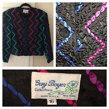 Gay Boyer Black ribbon jacket Sz 16 vtg