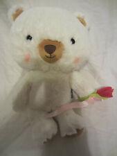 "Hallmark White Bella Bear Rose 14"" Plush Soft Toy Stuffed Animal"