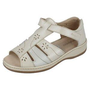 Ladies Sandpiper Stone Leather Hook & Loop Fastening Strap Casual Sandal Carly