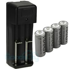 4 x 2200mAh 3.7V 16340 Li-ion GTL Rechargeable Battery+18650 16340 14500 Charger
