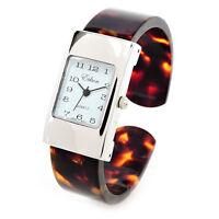 Tortoise Silver Acrylic Band Small Size Women's Bangle Cuff Watch