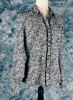 Fred David Stretch Womens Long Sleeve Black,White Geometric Design Blouse Size M