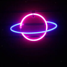 Planet Neon Sign Planet Neon Night Light Led Wall Art Light Blue&Pink Lamp Decor