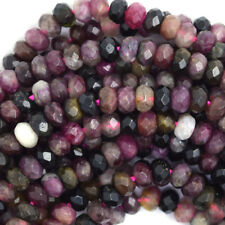 "5mm natural faceted watermelon tourmaline rondelle beads 15.5"" strand S1"