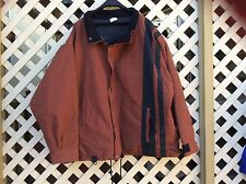 REWINDS MEN'S BROWN NYLON WATER PROOF JACKET SIZE: XL/TG