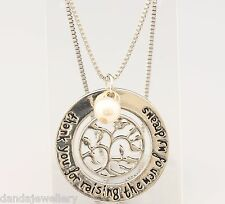 Thank You for Raising Man of My Dreams Tree Pearl Mother in Law Necklace Silver