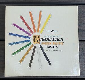 Vtg 60s GRUMBACHER Golden Palette PASTELS 72 Square Sticks SET NOS New Old Stock