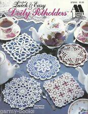 Quick & Easy Doily Potholders Crochet Thread Pattern Judy Nelson Instruction NEW