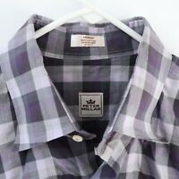 Peter Millar Mens Long Sleeve Dress Shirt Purple Plaid Size Medium