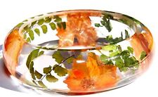 Handmade Real flower Botanical jewellry resin bangle bracelet.{B-003}
