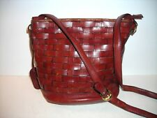 Vintage ETIENNE AIGNER rust woven LEATHER HANDBAG/SHOULDER BAG